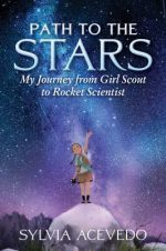 Girl Scout standing atop a giant rock trying to reach the stars