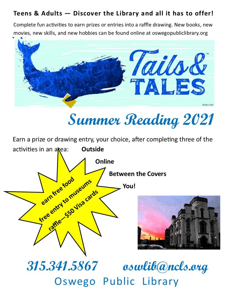 Teen & Adult Summer Reading flyer with Tails & Tales whale swimming with a book